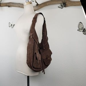 Ana brown suede hobo bag with cargo pockets